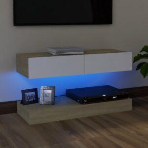 Móvel de TV com luzes LED 90x35 cm branco e carvalho sonoma - PORTES GRÁTIS