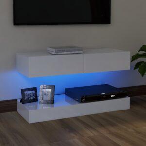 Móvel de TV com luzes LED 90x35 cm branco brilhante - PORTES GRÁTIS
