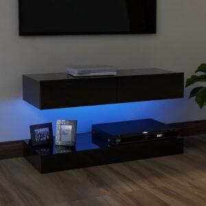 Móvel de TV com luzes LED 90x35 cm branco preto - PORTES GRÁTIS