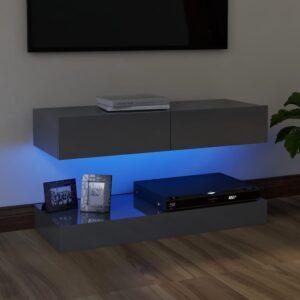 Móvel de TV com luzes LED 90x35 cm cinzento brilhante - PORTES GRÁTIS