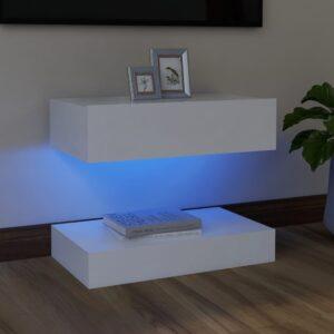 Móvel de TV com luzes LED 60x35 cm branco - PORTES GRÁTIS