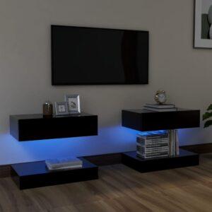 Móveis de TV com luzes LED 2 pcs 60x35 cm preto - PORTES GRÁTIS