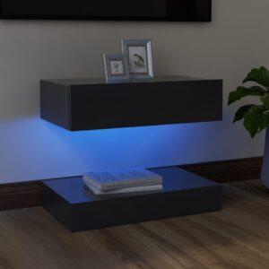 Móvel de TV com luzes LED 60x35 cm cinzento - PORTES GRÁTIS