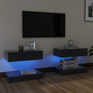 Móveis de TV com luzes LED 2 pcs 60x35 cm cinzento - PORTES GRÁTIS