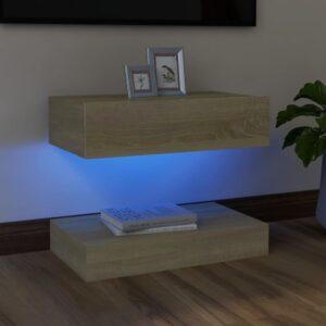 Móvel de TV com luzes LED 60x35 cm carvalho sonoma - PORTES GRÁTIS