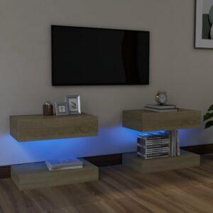 Móveis de TV com luzes LED 2 pcs 60x35 cm carvalho sonoma - PORTES GRÁTIS