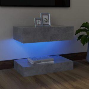 Móvel de TV com luzes LED 60x35 cm cinzento cimento - PORTES GRÁTIS