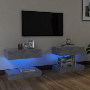Móveis de TV com luzes LED 2 pcs 60x35 cm cinzento cimento - PORTES GRÁTIS
