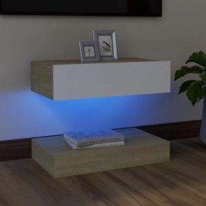 Móvel de TV com luzes LED 60x35 cm branco e carvalho sonoma - PORTES GRÁTIS