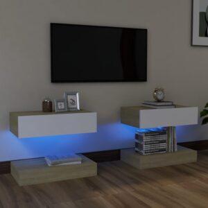 Móveis de TV c/ luzes LED 2pcs 60x35cm branco e carvalho sonoma - PORTES GRÁTIS