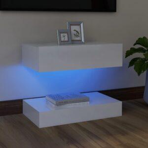 Móvel de TV com luzes LED 60x35 cm branco brilhante - PORTES GRÁTIS