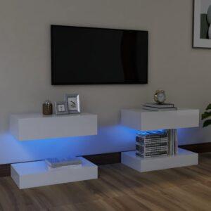 Móveis de TV com luzes LED 2 pcs 60x35 cm branco brilhante - PORTES GRÁTIS