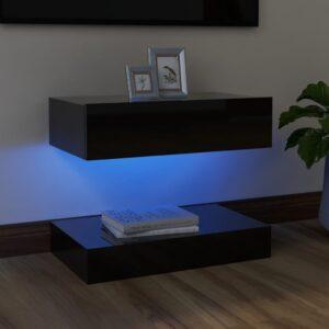 Móvel de TV com luzes LED 60x35 cm preto brilhante - PORTES GRÁTIS