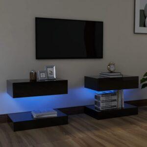 Móveis de TV com luzes LED 2 pcs 60x35 cm preto brilhante - PORTES GRÁTIS