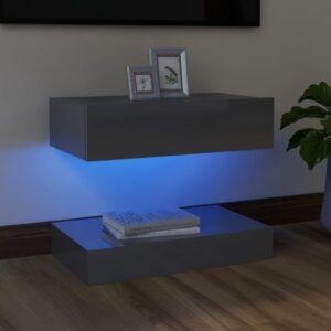 Móvel de TV com luzes LED 60x35 cm cinzento brilhante - PORTES GRÁTIS