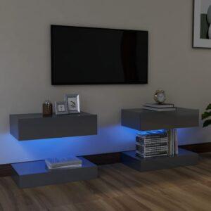 Móveis de TV com luzes LED 2 pcs 60x35 cm cinzento brilhante - PORTES GRÁTIS