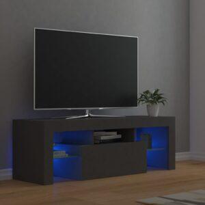 Móvel de TV com luzes LED 120x35x40 cm cinzento - PORTES GRÁTIS