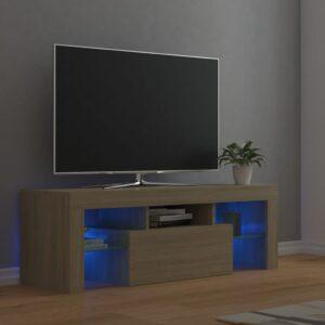 Móvel de TV com luzes LED 120x35x40 cm carvalho sonoma - PORTES GRÁTIS