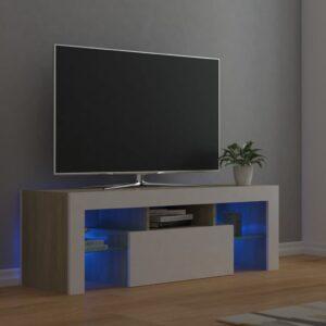 Móvel de TV com luzes LED 120x35x40 cm branco e carvalho sonoma - PORTES GRÁTIS