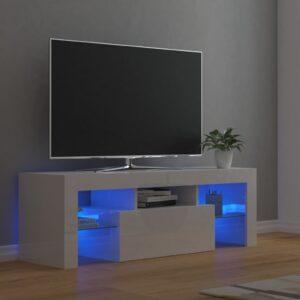 Móvel de TV com luzes LED 120x35x40 cm branco brilhante - PORTES GRÁTIS