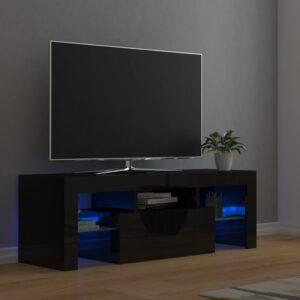 Móvel de TV com luzes LED 120x35x40 cm preto brilhante - PORTES GRÁTIS