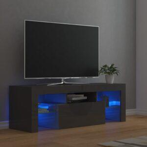 Móvel de TV com luzes LED 120x35x40 cm cinzento brilhante - PORTES GRÁTIS