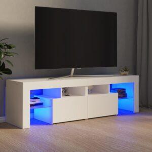 Móvel de TV com luzes LED 140x35x40 cm branco - PORTES GRÁTIS