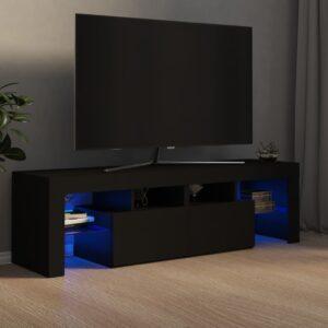 Móvel de TV com luzes LED 140x35x40 cm preto - PORTES GRÁTIS