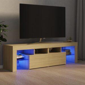 Móvel de TV com luzes LED 140x35x40 cm carvalho sonoma - PORTES GRÁTIS