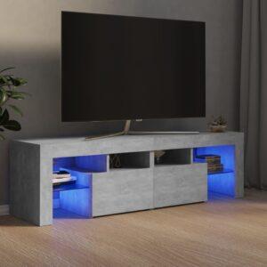 Móvel de TV com luzes LED 140x35x40 cm cinzento cimento - PORTES GRÁTIS