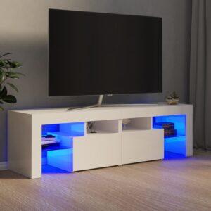 Móvel de TV com luzes LED 140x35x40 cm branco brilhante - PORTES GRÁTIS