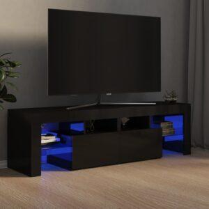 Móvel de TV com luzes LED 140x35x40 cm preto brilhante - PORTES GRÁTIS