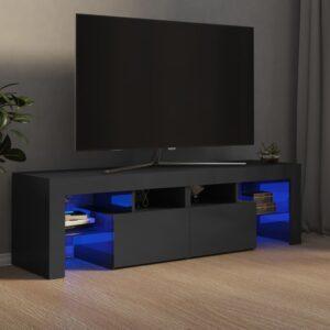 Móvel de TV com luzes LED 140x35x40 cm cinzento brilhante - PORTES GRÁTIS