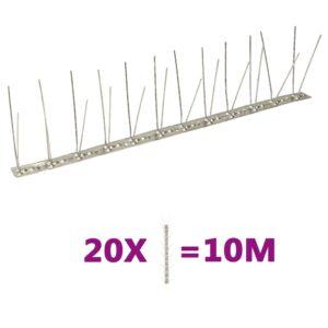 Conjunto 20 picos pássaros e pombos 4 filas 10m aço inoxidável  - PORTES GRÁTIS