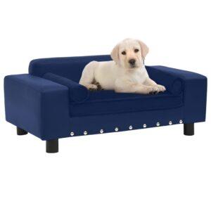 Sofá para cães 81x43x31 cm pelúcia e couro artificial azul - PORTES GRÁTIS