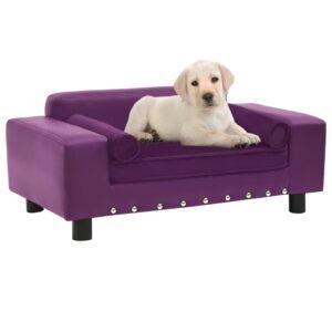Sofá para cães 81x43x31 cm pelúcia e couro artificial bordô - PORTES GRÁTIS