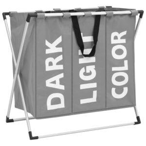 Separador de roupa suja de 3 secções cinzento - PORTES GRÁTIS