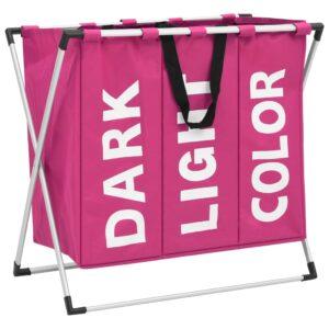 Separador de roupa suja de 3 secções rosa - PORTES GRÁTIS