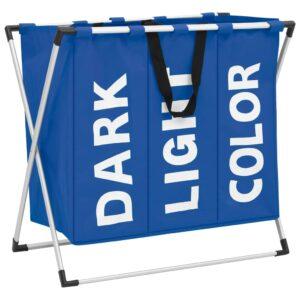 Separador de roupa suja de 3 secções azul  - PORTES GRÁTIS