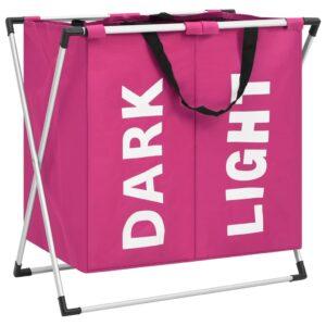 Separador de roupa suja de 2 secções rosa  - PORTES GRÁTIS