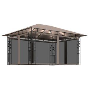 Gazebo c/ mosquiteiro cordões luzes 4x3x2,73m 180g/m² cinza-ac. - PORTES GRÁTIS