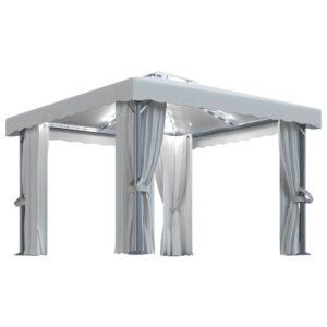 Gazebo com cortinas e cordões de luzes 3x3 m branco nata - PORTES GRÁTIS