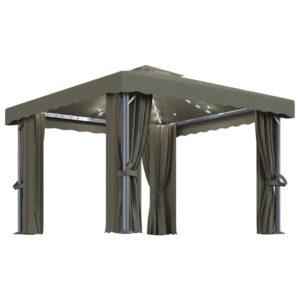 Gazebo com cortinas e cordões de luzes 3x3 m cinza-acastanhado - PORTES GRÁTIS