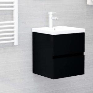Armário de lavatório c/ lavatório embutido contraplacado preto - PORTES GRÁTIS