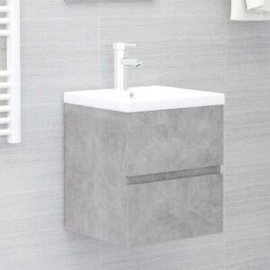 Armário lavatório c/ lavatório embutido contrap. cinza cimento - PORTES GRÁTIS