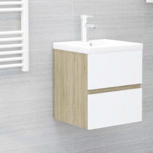 Armário lavatório + lavatório embutido contrap. branco e sonoma - PORTES GRÁTIS