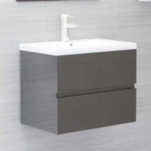 Armário lavatório + lavatório embutido contra. cinza brilhante - PORTES GRÁTIS