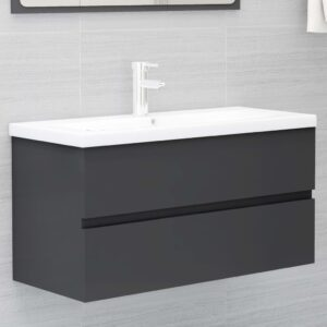 Armário de lavatório c/ lavatório embutido contraplacado cinza - PORTES GRÁTIS