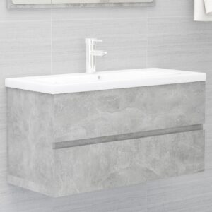 Armário lavatório + lavatório embutido contrap. cinza cimento - PORTES GRÁTIS