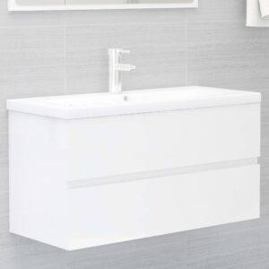 Armário lavatório + lavatório embutido contra. branco brilhante - PORTES GRÁTIS